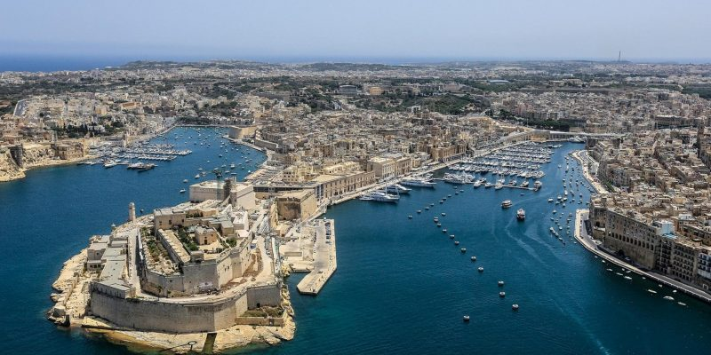 The coastline of Malta