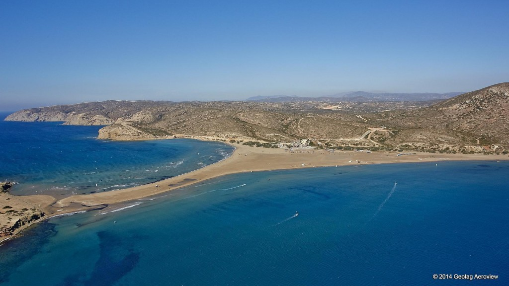 Aerial photo of Prassonissi beach in the island of Rhodoes by Tripinview
