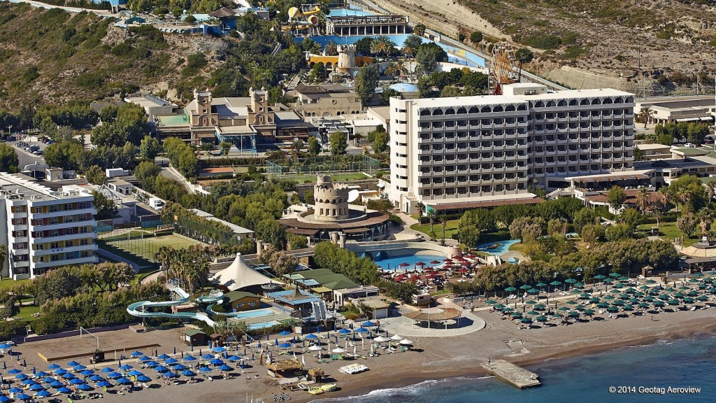 Aerial photo of the water park in Faliraki beach, Rhodes by Tripinview