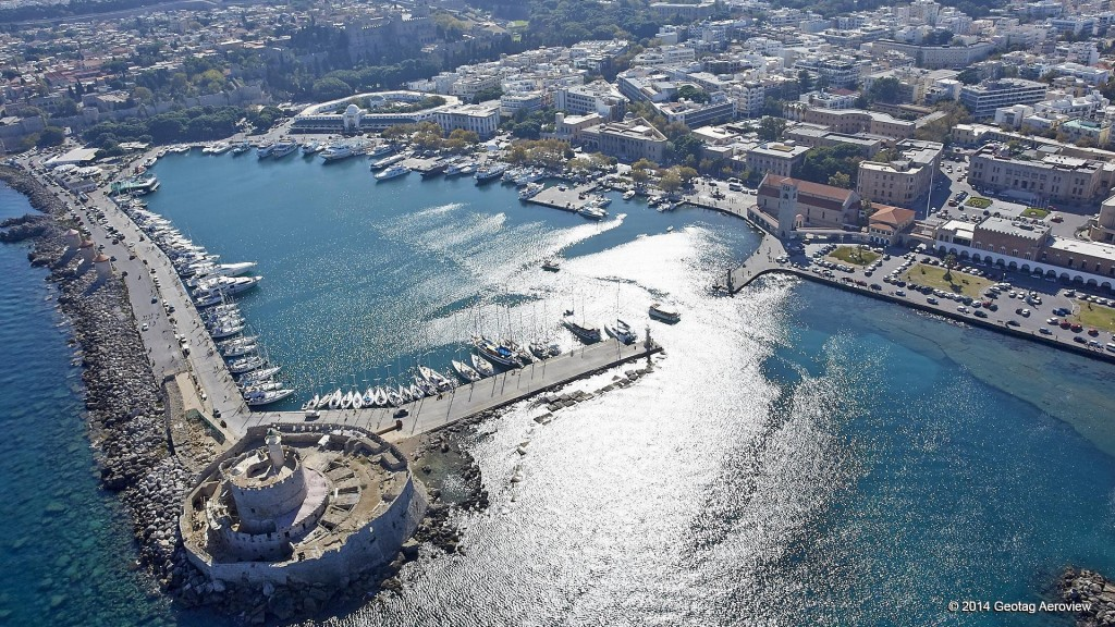 Aerial photo of Mandraki's marina in the town of Rhodes by Tripinview