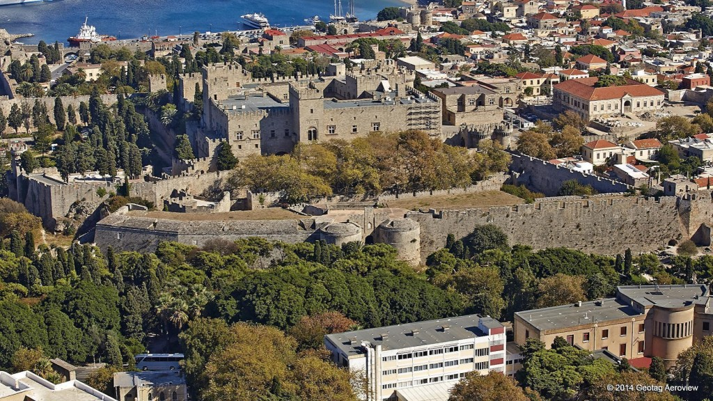 Aerial photo of the Palace of Grand Maestro in the old town of Rhodes by Tripinview