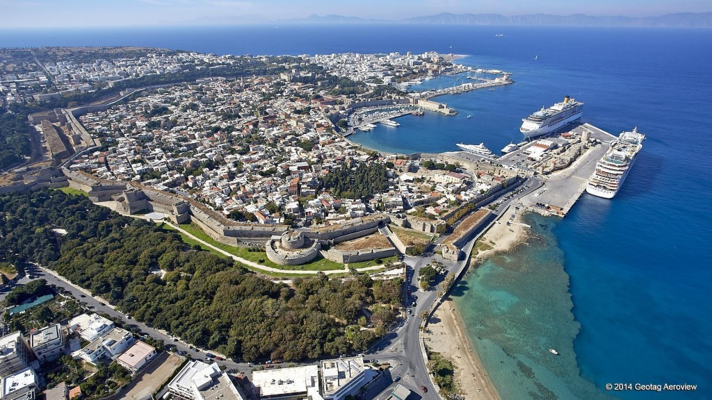 Aerial photo of the Old Town of Rhodes by Tripinview