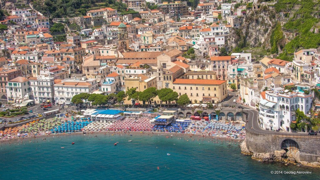 Aerial photo of the main beach of Amalfi by Tripinview