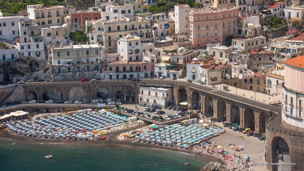 Aerial photo of the main beach of Atrani by Tripinview