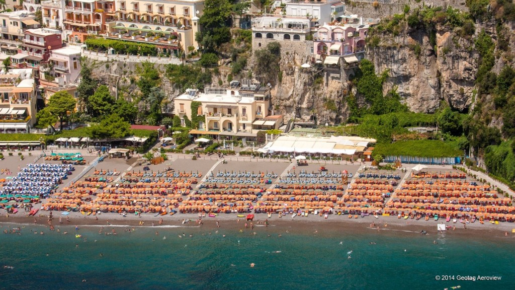 Aerial photo of the main beach of Positano by Tripinview