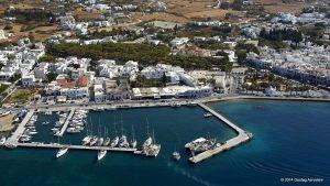 Aerial photo of an orthodox church named Ekatonatpiliani located in Paros Island, Greece