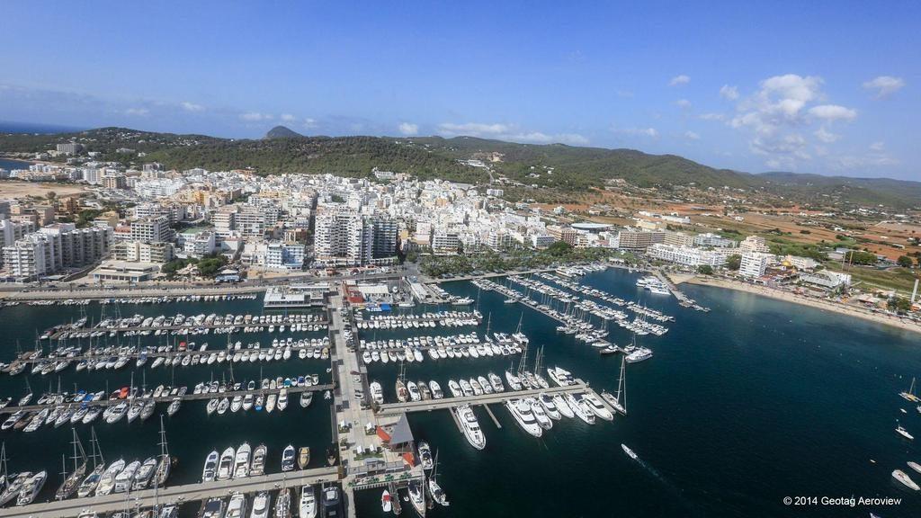 Aerial view, Ibiza, Belearic Islands, Spain, Botafoc marina