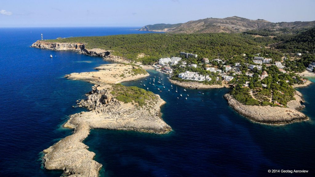 Mediterranean vacation during summer. Enjoy aerial view of Portinatx in Ibiza - Balearic Islands - Spain