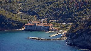 Aerial photo of the buildings and the surrounding area of Esphigmenou Orthodox Monastery at Mount Athos, Greece
