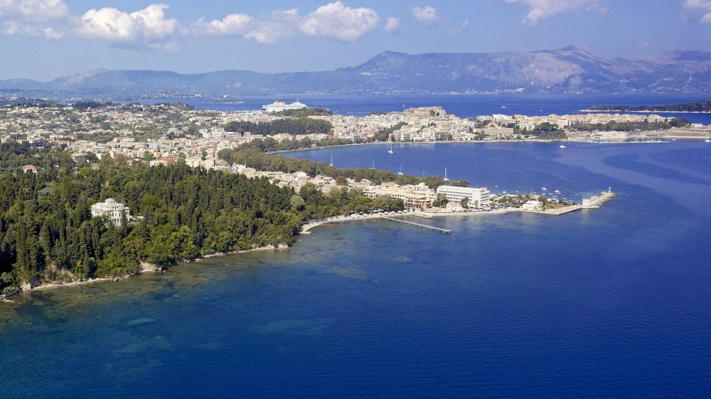 Royal Baths Mon Repos in Corfu Greece captured from a helicopter