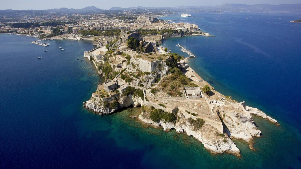 Aerial view of the Castle in Corfu island