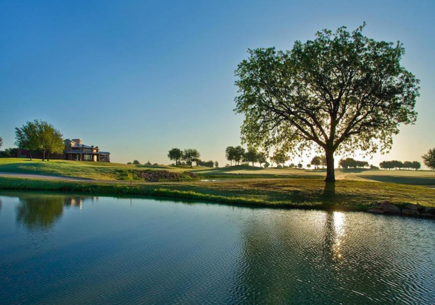 View of a small lake on golf land of Teravista Golf Courses near Austin TX 2