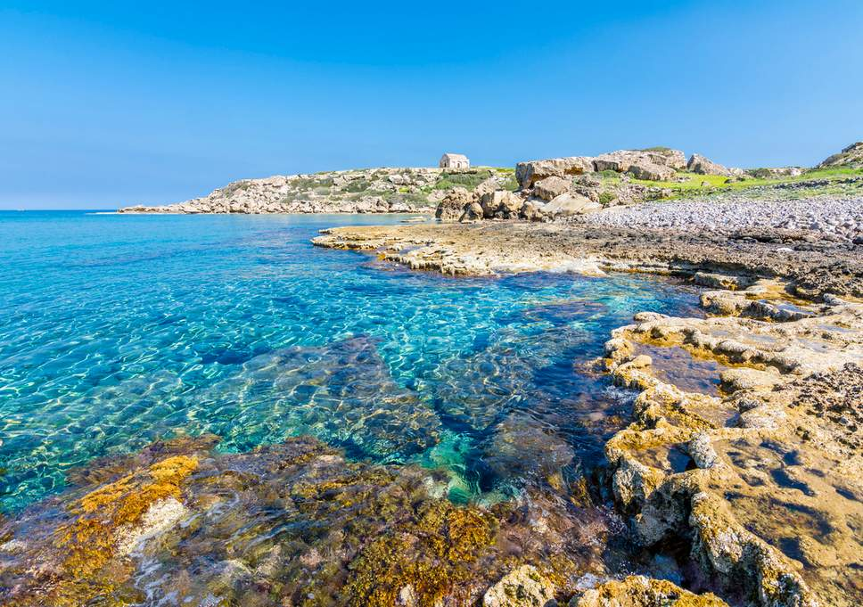 Beach with crystal clear waters, in Cyprus