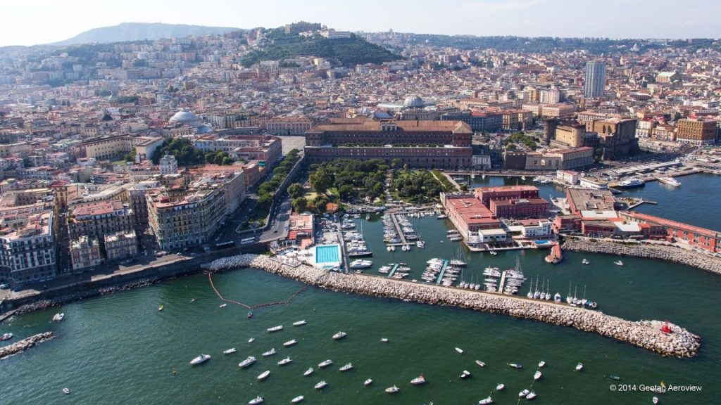 Partial view of Napoli port as seen from a manned helicopter