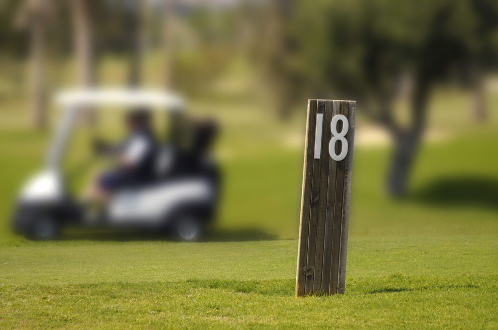 Hole 18 in as in golf courses