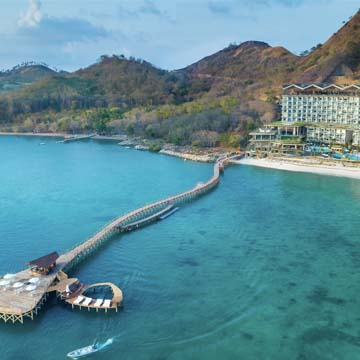 Aerial view of Ayana Resort at Komodo island
