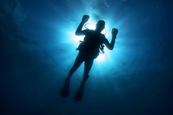 Diver captured from down looking up